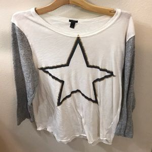 J. Crew tee shirt long sleeves women's size L